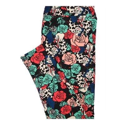 LuLaRoe Tall Curvy TC Disney Cruella De Vil 101 Dalmations Roses Leggings fits Women 12-18