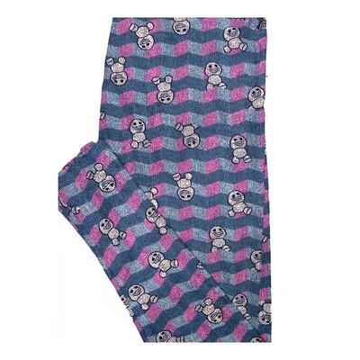 LuLaRoe Tall Curvy TC Disney Frozen Snowgies Zig Zag Stripe Leggings fits Women 12-18