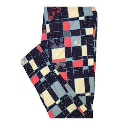 LuLaRoe Tall Curvy TC Disney Mickey Mouse Polka Dot Squares Geometric Leggings fits Women 12-18