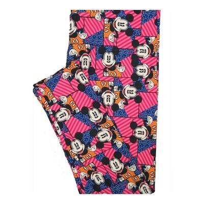 LuLaRoe Tall Curvy TC Disney Mickey Mouse Posing Stripes Flag Leggings fits Women 12-18