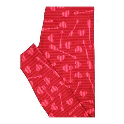 LuLaRoe One Size OS Valentines Stripe Arrows Two Tone Hearts Leggings fits Women 2-10