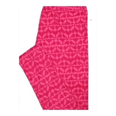LuLaRoe One Size OS Valentines Two Tone Geometric Hearts Stripes Leggings fits Women 2-10