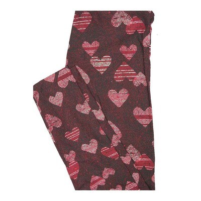 LuLaRoe One Size OS Valentines Striped Hearts Black Red White Leggings fits Women 2-10
