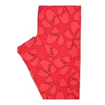 LuLaRoe One Size OS Valentines Hearts Love Leggings fits Women 2-10
