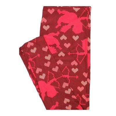 LuLaRoe One Size OS Valentines Cupid Hearts Pixel Grid Leggings fits Women 2-10