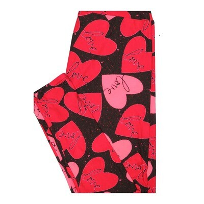 LuLaRoe One Size OS Valentines Hearts Love Black Red Pink Leggings fits Women 2-10