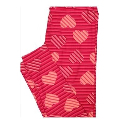 LuLaRoe One Size OS Valentines Striped Hearts Leggings fits Women 2-10