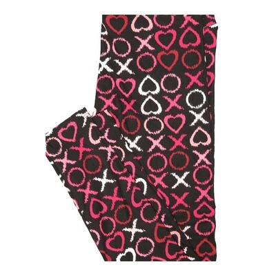 LuLaRoe One Size OS Valentines Hearts X'x and O's Black Red White Leggings fits Women 2-10