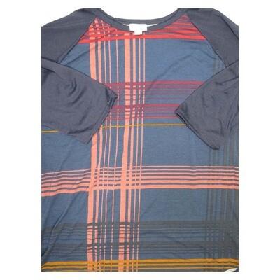LuLaRoe Randy X-Large Stripe Plaid Raglan Sleeve Unisex Baseball Tee Shirt - XL fits 18-20