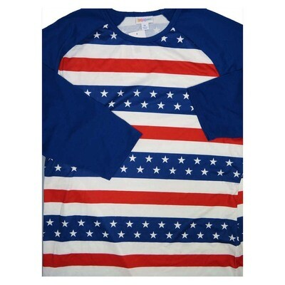 LuLaRoe Randy X-Large USA Americana Red Whtie Blue Stars Stripes Raglan Sleeve Unisex Baseball Tee Shirt - XL fits 18-20