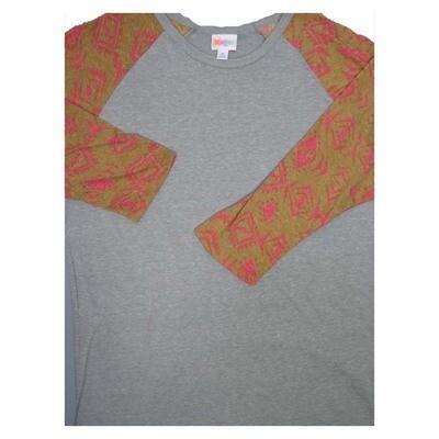 LuLaRoe Randy X-Large Geometric Raglan Sleeve Unisex Baseball Tee Shirt - XL fits 18-20