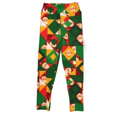 LuLaRoe Kids Small Medium S-M (SM) Christmas Santa Claus Geometric Leggings fits Kids sizes 2-6