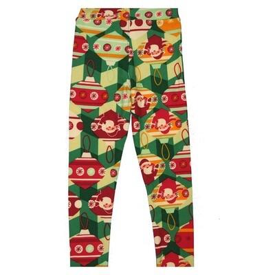 LuLaRoe Kids Small Medium S-M (SM) Christmas Santa Claus Grid Stripe Leggings fits Kids sizes 2-6