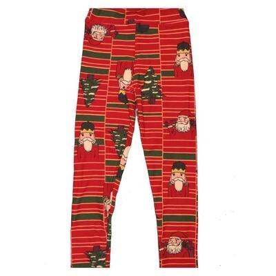 LuLaRoe Kids Small Medium S-M (SM) Christmas Santa Claus Nut Cracker Stripe Leggings fits Kids sizes 2-6