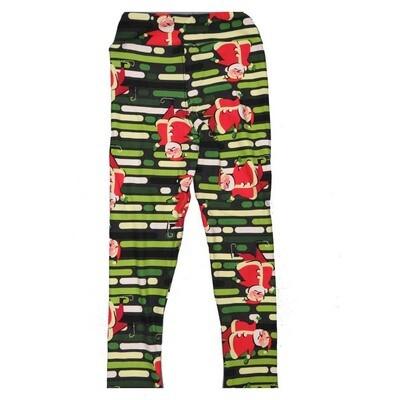 LuLaRoe Kids Small Medium S-M (SM) Christmas Santa Claus Stripes Leggings fits Kids sizes 2-6
