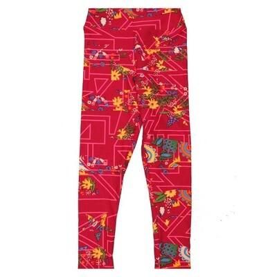 LuLaRoe Kids Small Medium S-M (SM) Floral Geometric Leggings fits Kids sizes 2-6