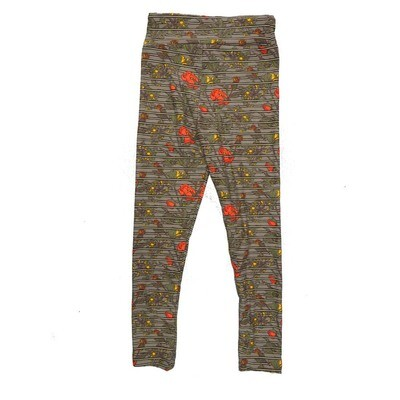 LuLaRoe Kids Small Medium S-M (SM) Floral Striped Leggings fits Kids sizes 2-6
