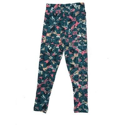 LuLaRoe Kids Small Medium S-M (SM) Geometric Mandala Floral Leggings fits Kids sizes 2-6