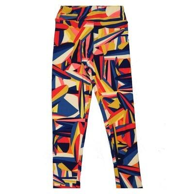 LuLaRoe Kids Small Medium S-M (SM) Geometric Rainbow Collage Stripe Leggings fits Kids sizes 2-6
