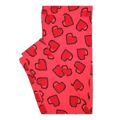 LuLaRoe Tall Curvy TC Valentines Pixelated Hearts Leggings fits Women 12-18