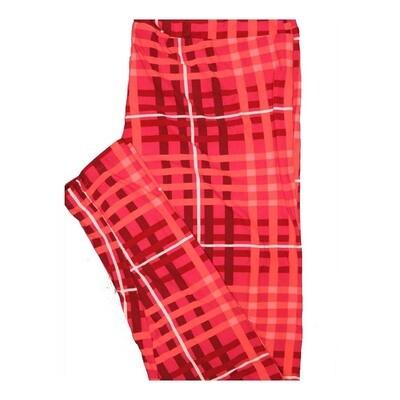LuLaRoe Tall Curvy TC Valentines Red White Plaid Stripe Leggings fits Women 12-18