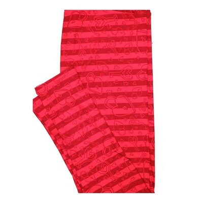 LuLaRoe Tall Curvy TC Valentines Love Lock Hearts Keys Stripe Leggings fits Women 12-18