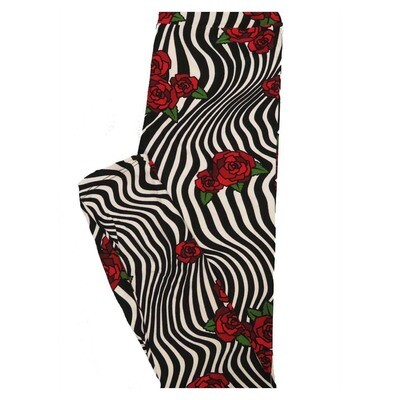 LuLaRoe Tween Roses Black White Stripe Leggings Fits Adult Sizes 00-0