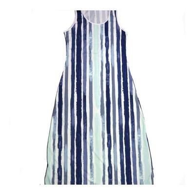 LuLaRoe DANI Medium M Blue White Stripe Sleeveless Column Dress fits Womens sizes 8-10