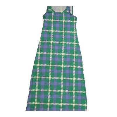 LuLaRoe DANI Medium M Green Blue White Plaid Stripe Sleeveless Column Dress fits Womens sizes 8-10