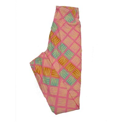 LuLaRoe Tween Geometric Checkerboard Stripe Leggings Fits Adult Sizes 00-0