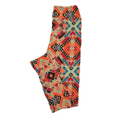 LuLaRoe Tween Geometric Patchwork Polka Dot Leggings Fits Adult Sizes 00-0