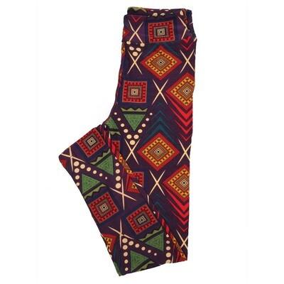 LuLaRoe Tween Gods Eye Southwestern Geometric Leggings Fits Adult Sizes 00-0