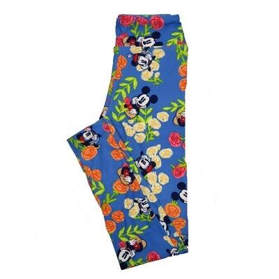 LuLaRoe Tween Disney Mickey Mouse Roses Leggings Fits Adult Sizes 00-0