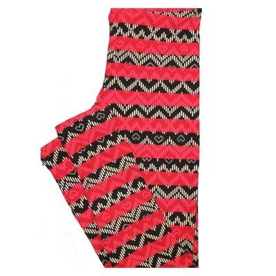 LuLaRoe Tween Valentines Hearts Black Red White Stripe Leggings Fits Adult Sizes 00-0