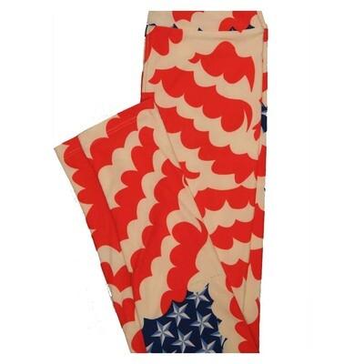 LuLaRoe Tween Stars and Stripes Red White Blue Wavy Flag Leggings Fits Adult Sizes 00-0