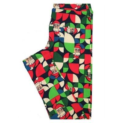 LuLaRoe Tween Christmas Santa Geometric Leggings Fits Adult Sizes 00-0