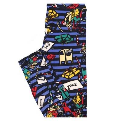 LuLaRoe Tween Christmas Santas Letters Stripe Leggings Fits Adult Sizes 00-0
