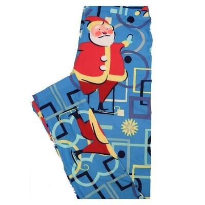 LuLaRoe Tween Christmas Santa Ice Skating Leggings Fits Adult Sizes 00-0