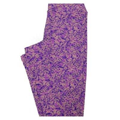LuLaRoe Tween Geometric Wavy Stripe Leggings Fits Adult Sizes 00-0
