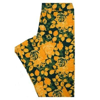 LuLaRoe Tween Roses Floral Leggings Fits Adult Sizes 00-0