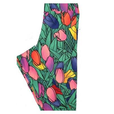 LuLaRoe Tween Valentines Tulips Hearts Rainbow Leggings Fits Adult Sizes 00-0