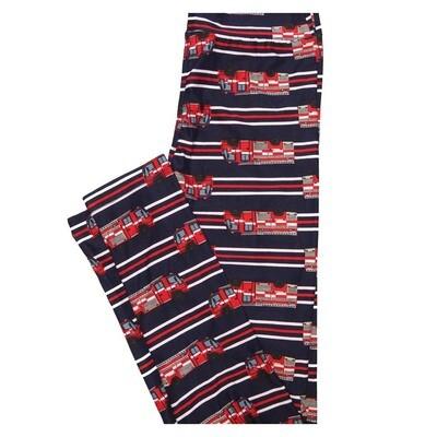 LuLaRoe Tween Fire Engine Red White Blue Stripe Leggings Fits Adult Sizes 00-0