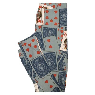 LuLaRoe Tween Valentines Queen of Hearts Playing Cards Leggings Fits Adult Sizes 00-0