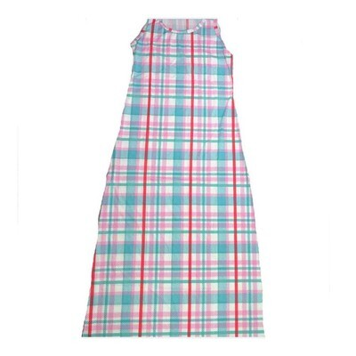 LuLaRoe DANI Small S Light Blue White Plaid Stripe Sleeveless Column Dress fits Womens sizes 6-8