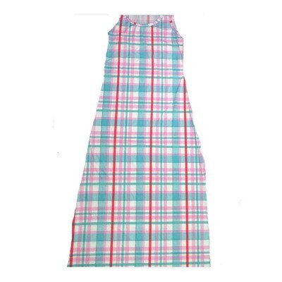 LuLaRoe DANI X-Large XL Blue White Red Plaid Sleeveless Column Dress fits Womens sizes 14-16