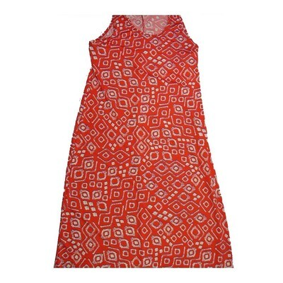 LuLaRoe DANI X-Large XL Geometric Red Gray Sleeveless Column Dress fits Womens sizes 14-16