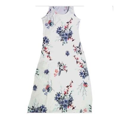 LuLaRoe DANI Medium M Floral Green Blue Lavender Purple Sleeveless Column Dress fits Womens sizes 8-10