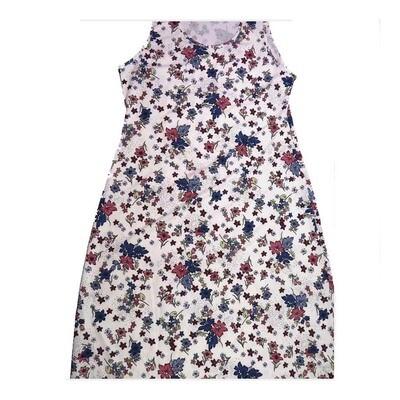 LuLaRoe DANI XX-Large 2XL Blue White Floral Sleeveless Column Dress fits Womens sizes 18-22