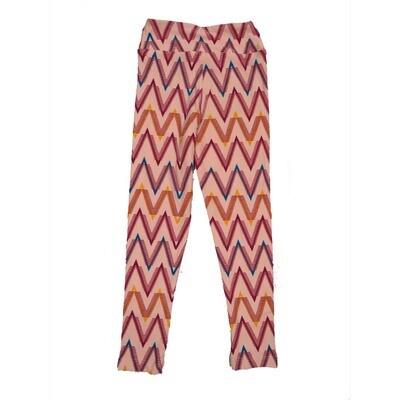 LuLaRoe Kids Small Medium S-M (SM) Geometric Zig Zag Stripe Leggings fits Kids sizes 2-6