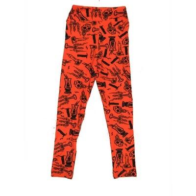 LuLaRoe Kids Small Medium S-M (SM) Halloween Candlabra Candles Skulls Black Orange Leggings Leggings fits Kids sizes 2-6